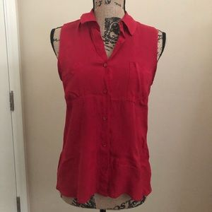 F21 Ambiance Apparel Red Button Up Sleveless Top